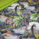 Soft Shell Softshell Outdoor Jackenstoffe grün Dinosaurier Dinos