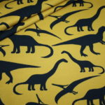 Hilco French Terry dünner Sweatshirt Stoff Dinosaurier senf schwarz