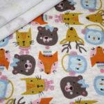 Alpenfleece Happyfleece Sweatshirt Stoff senf beige Tiere
