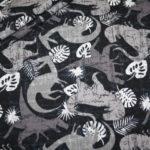 Jersey Stoff Dinos Dinosaurier grau schwarz