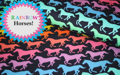 Rainbow Horses Sweatshirt Stoff und Softshell!