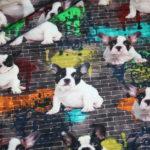 Digitaldruck Jersey Stoff Hunde Französische Bulldogge