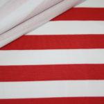French Terry Sweatshirt Stoff breite Streifen weiß rot
