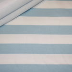 French Terry Sweatshirt Stoff breite Streifen weiß hellblau blau