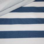 French Terry Sweatshirt Stoff breite Streifen weiß jeansblau blau