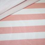 French Terry Sweatshirt Stoff breite Streifen weiß rosa