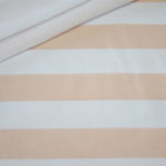French Terry Sweatshirt Stoff breite Streifen weiß puder koralle