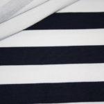 French Terry Sweatshirt Stoff breite Streifen weiß dunkelblau blau