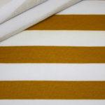 French Terry Sweatshirt Stoff breite Streifen weiß senf gelb