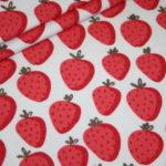 French Terry Sweatshirt Stoff Erdbeeren mit Glitzer