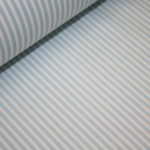 Beschichtete Baumwolle Wachstuch weich blau schmale Streifen weiß