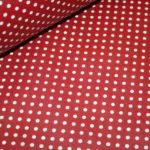 Beschichtete Baumwolle Wachstuch weich rot kleine Punkte weiß