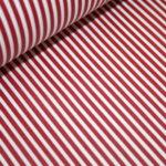 Beschichtete Baumwolle Wachstuch weich rot schmale Streifen weiß