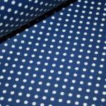Beschichtete Baumwolle Wachstuch weich blau kleine Punkte weiß