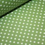 Beschichtete Baumwolle Wachstuch weich grün kleine Punkte weiß