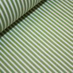 Beschichtete Baumwolle Wachstuch weich grün schmale Streifen weiß