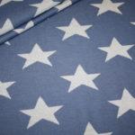 Stenzo Jacquard Strick Jersey Stoff jeans blau Sterne