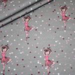 Jersey Stoff grau beige rosa Ballerina
