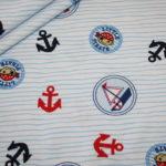Jersey Stoff Kleiner Pirat weiß blau