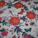 French Terry Sweatshirt Stoff grau meliert Blumen