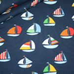 Jersey Stoff bunte Boote Schiffe blau