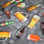 Digitaldruck Jersey Stoff Getränke Bier Flaschen