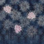 Stenzo Jersey Stoff  Panel Große Blumen jeansblau altrosa