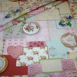 Deko Baumwollstoff Stoff Nostalgisch Romantisch Blumen Briefe rosa