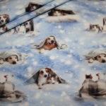 Digitaldruck Jersey Stoff Hunde Schnee
