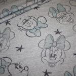 Walt Disney dünner French Terry Jersey Stoff Minnie Maus grau türkis blau