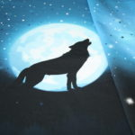 Wolf Moon 2.0 French Terry  Jersey Stoff Panel by Lycklig Design Wolf blau