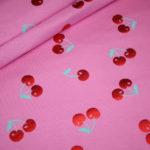 Jersey Stoff Folien Druck Kirschen pink