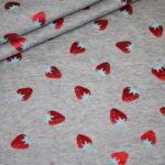 Jersey Stoff Folien Druck Erdbeeren grau