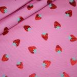 Jersey Stoff Folien Druck Erdbeeren pink