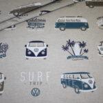 Original VW Bulli Baumwollstoff Deko Stoff Leinen Optik blau