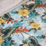 Hilco French Terry Jersey Stoff Hawaii Blumen