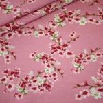 Dünner Sweat Soft Gots Jersey Stoff Cherry Blossom Blümchen rosa