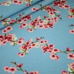 Dünner Sweat Soft Gots Jersey Stoff Cherry Blossom Blümchen blau