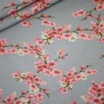 Dünner Sweat Soft Gots Jersey Stoff Cherry Blossom Blümchen grau