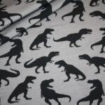 Steinbeck Jersey Stoff grau schwarz Dinosaurier Dinos