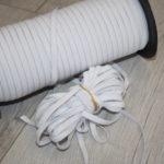 10m Schmales weiches Gummiband weiß