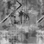 Stenzo Jersey Stoff  Panel Muster Frau grau weiß