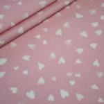 Jersey Stoff Lisbet rosa kleine weiße Herzen