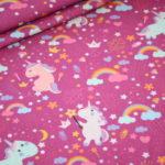 Interlock Jersey Stoff Einhorn lila pink