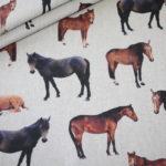 Fester Deko Stoff Leinen Optik Pferde