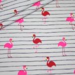 Jersey Stoff weiß Mini NEON Flamingo