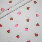 Jersey Stoff weiß Mini NEON Erdbeeren