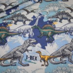 Jersey Stoff Dinos Dinosaurier blau