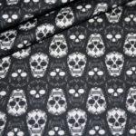 Baumwollstoff Totenkopf schwarz weiß