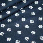 Baumwollstoff Hunde Pfoten blau